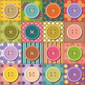Patchwork pattern with buttons — Vector de stock