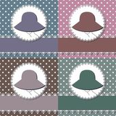 Four decor backgrounds with lady with hat — Stock Vector