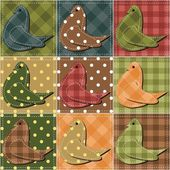 Patchwork background with pigeons — Stock Vector