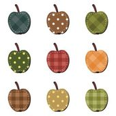 Scrapbook apples on white background — Stock Vector