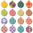 Christmass decor balls scrapbook on white background — ストックベクタ