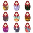 matryoshka dolls scrapbook on white — Stock Vector