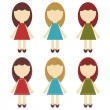 Scrapbook girls in different dresses - Stock Vector