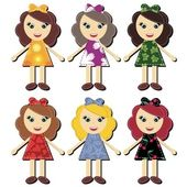 Scrapbook girls in different dresses — Stock Vector