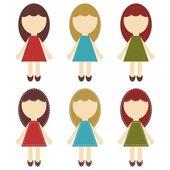 Scrapbook girls in different dresses — Stock Vector