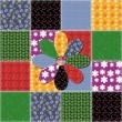 Patchwork background with different patterns — ベクター素材ストック