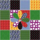 Lappendeken achtergrond met verschillende patronen — Stockvector