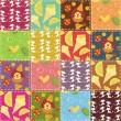 Patchwork background with different patterns - Stok Vektör