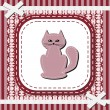 Frame with lace and nice cat — Stock Vector
