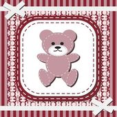 Frame with lace and teddy bear — Stock Vector