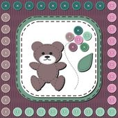 Card with teddy bear and buttons — Stock Vector