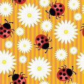 Seamless background with ladybirds — Stock Vector