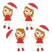 Girl in christmas dress — Stock Vector