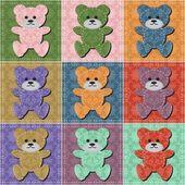 Nice scrapbook teddy bears — Stock Vector