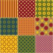 Patchwork background with different patterns — Vettoriali Stock