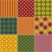 さまざまなパターンとパッチワークの背景 — ストックベクタ