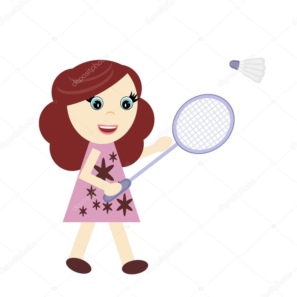 打羽毛球的小女孩