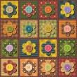 Patchwork background with flowers — Image vectorielle