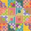 Patchwork background with different patterns and buttons — Stock Vector #17383257