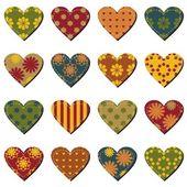Coeurs de Scrapbook sur fond blanc — Vecteur
