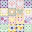 Patchwork background with different patterns — Image vectorielle