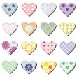 Scrapbook hearts on white background - Vettoriali Stock