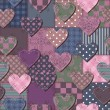 Patchwork background with  hearts - Stock Vector