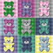 Patchwork background with teddy bears — Stock Vector