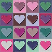 Patchwork background with hearts — Stock Vector