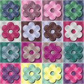 Fond de patchwork avec des fleurs — Vecteur