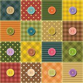 Patchwork background with buttons — Stock Vector