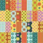 Fondo de patchwork con diversos patrones — Vector de stock