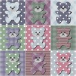 Patchwork background with teddy bears — ストックベクタ