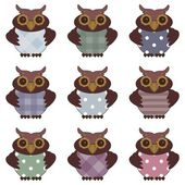 Collection of nice owls — Stock Vector