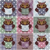 Patchwork background with owls — Stock Vector