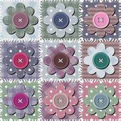 Sfondo di mosaico con fiori — Vettoriale Stock