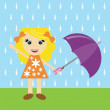 Stock Vector: Nice girl with umbrella