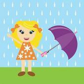 伞的漂亮女孩 — 图库矢量图片