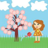 Nice girl watering tree with flowers — Stock Vector