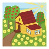 Nice house and garden — Stock Vector