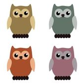 Four nice owls on white — Stock Vector