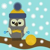 Nice owl knitting — Stock Vector