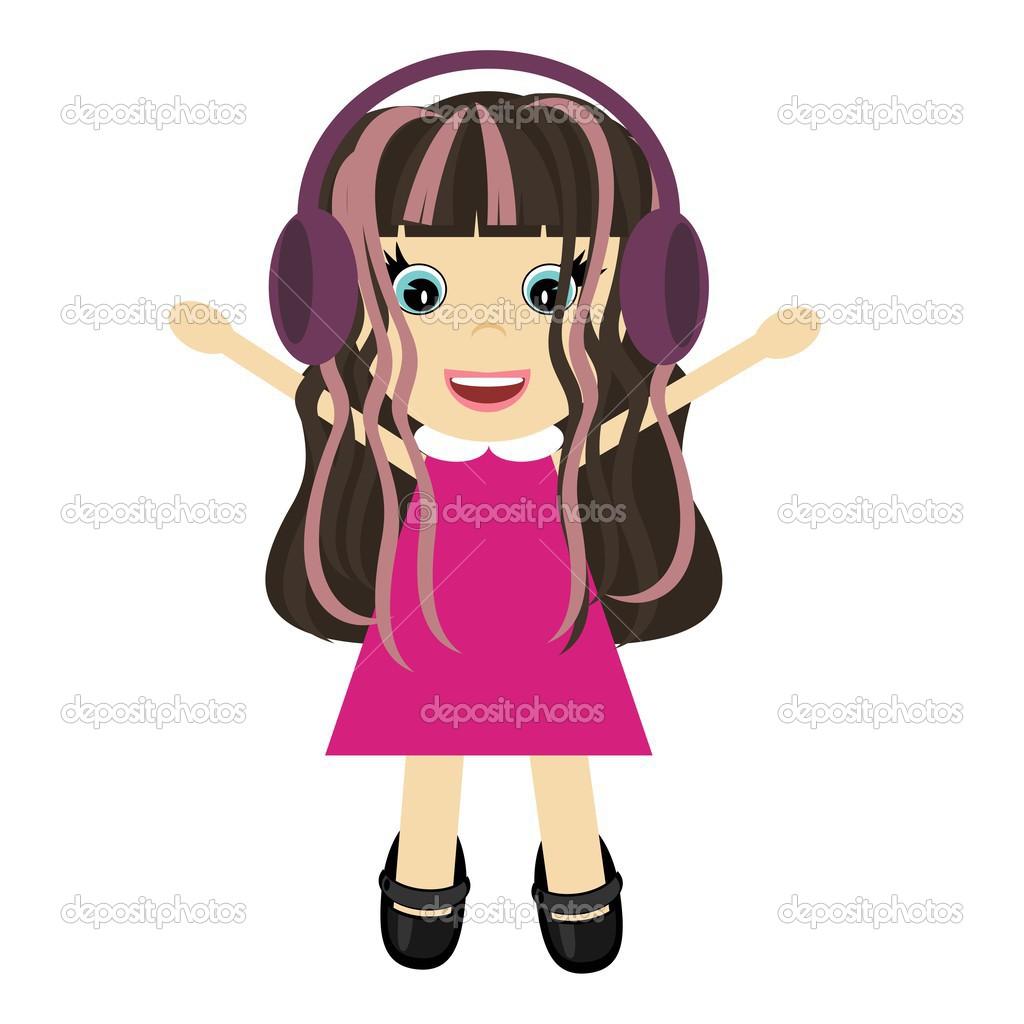 可爱的小女孩,戴着耳机– 图库插图