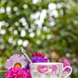 Teatime in garden — Stock Photo