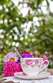 Teatime in garden — Stock Photo