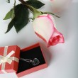 Rose and gift with jewelry decoration — Stock Photo #1339898