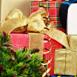 Stack of christmas gift boxes — Foto Stock