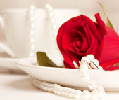 Romantic table served — Stock Photo