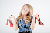 Teenager girl with shoes — Stock Photo