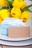 Blue gift box — Stock Photo